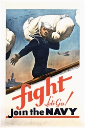Fight - Lets Go - Join the Navy by McClelland Barclay. 1941
