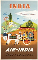 Air India - India by Asiart. ca. 1960