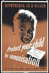 Diphtheria - Immunisation (2 Posters) by Reginald Mount. ca. 1945