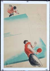 no text (Table Tennis) by Monogr.  GS. ca. 1950